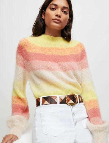 多色条纹细毛衣 : Sweaters & Cardigans 顏色 黄色/YELLOW