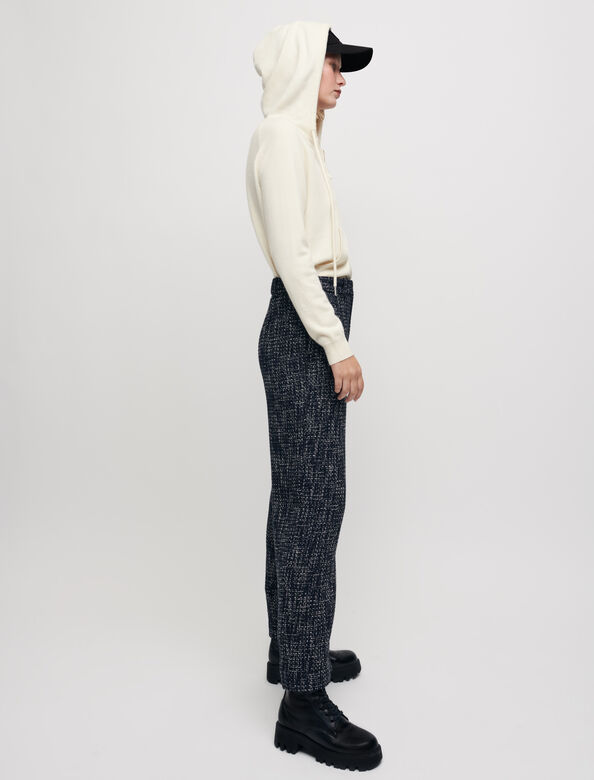 Wide-leg tweed-style trousers : Trousers & Jeans color Navy