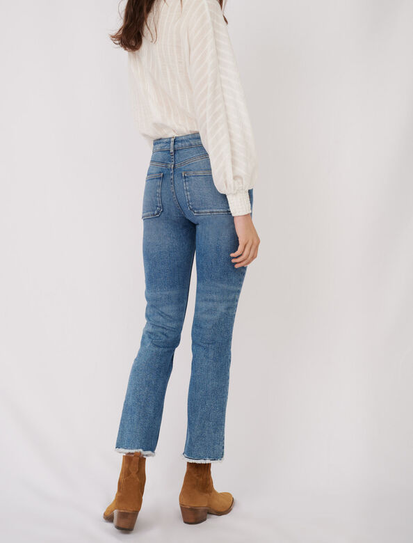 Straight cut jeans with fringing : Jeans color Dark blue