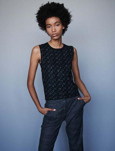 Lurex jacquard sleeveless sweater : Sweaters color Black