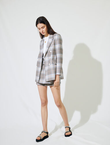 Checked double-breasted blazer : Blazers color Grey/Blue