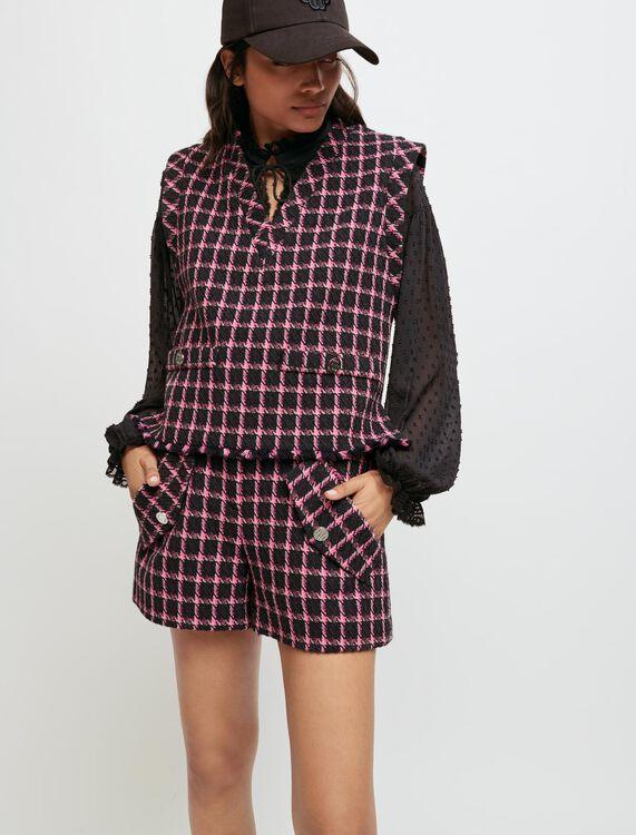 Checked sleeveless top - Tops - MAJE