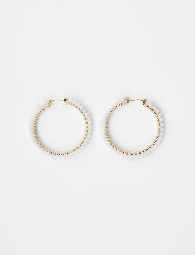 Beaded Creole earrings : Jewelry color Khaki