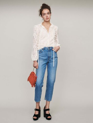High-waisted jeans : Jeans color Blue