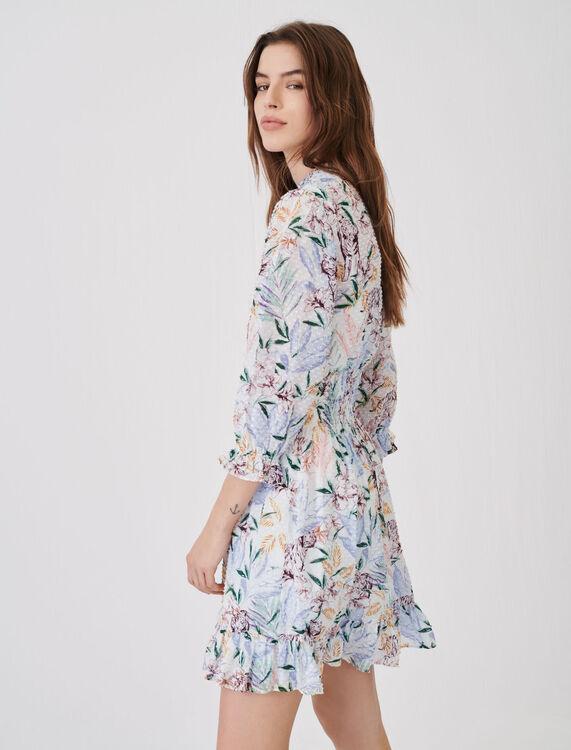Smocked print and lurex cut-thread dress - Dresses - MAJE