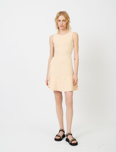Fine knit jacquard dress : Dresses color Beige