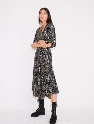 Printed crêpe sequin dress : Dresses color Black White