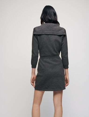 Wool and cotton dress with sailor collar : Dresses color Grey