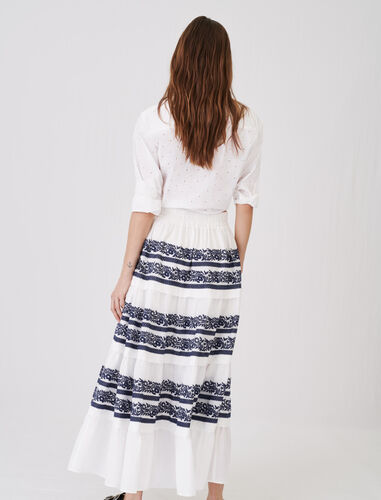 Skirt with all-over embroidery : Skirts color Navy