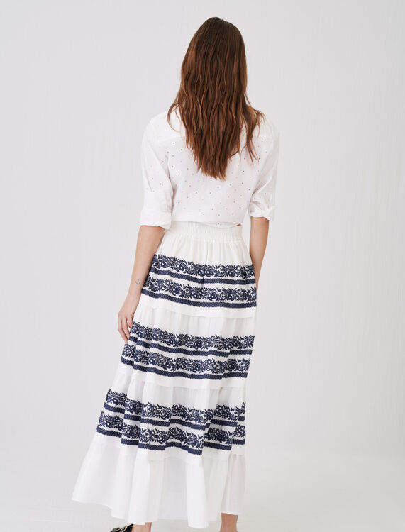 Skirt with all-over embroidery - Skirts - MAJE