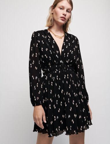Bow print pleated dress : Dresses color Black Knots