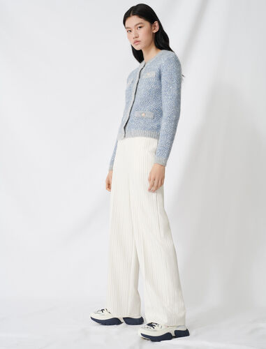 Palazzo trousers, contrasting waistband : Trousers color Ecru