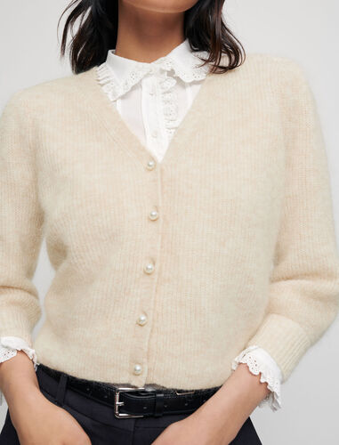 Mohair cardigan with pearl buttons : Cardigans color Beige