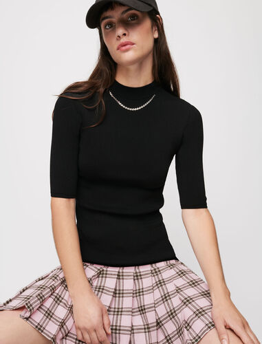 Checked wool and knit dress : Dresses color Black
