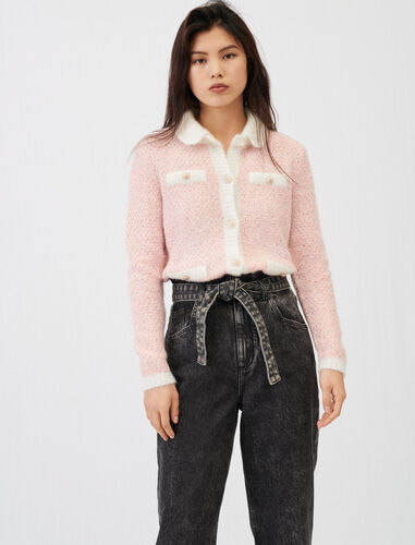 Fancy lurex knit cardigan : Cardigans color Pale Pink