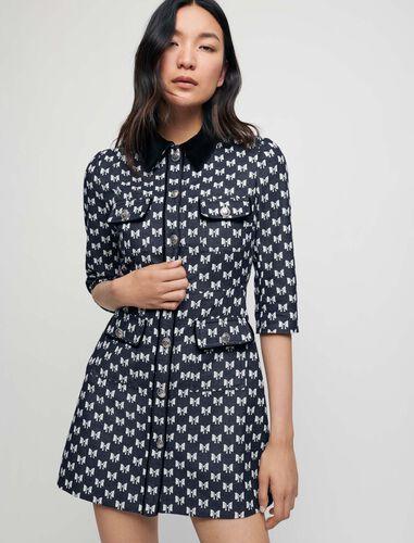 蝴蝶结提花连衣裙 : Dresses 顏色 深蓝色/Navy