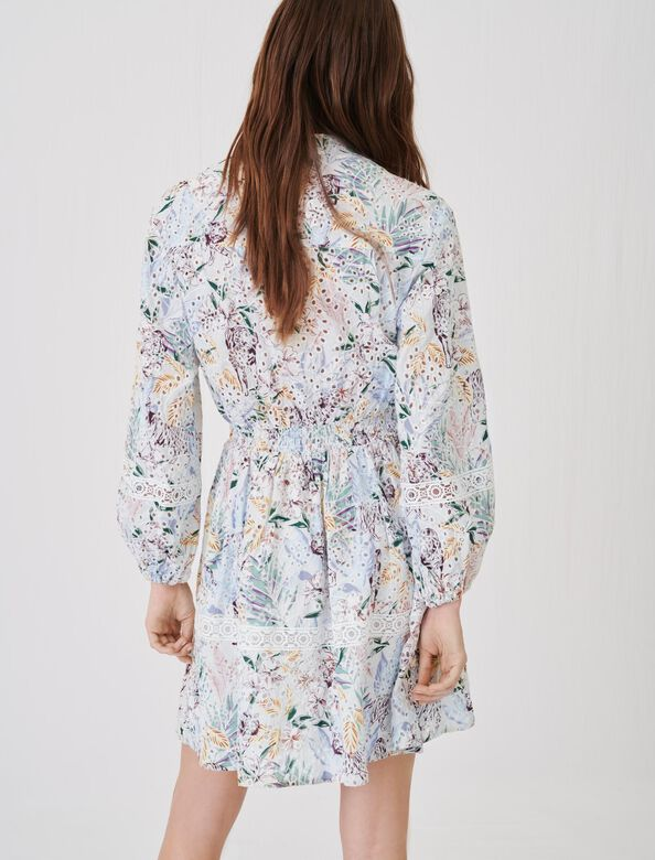 Printed guipure lace dress with trims : Dresses color White Jungle