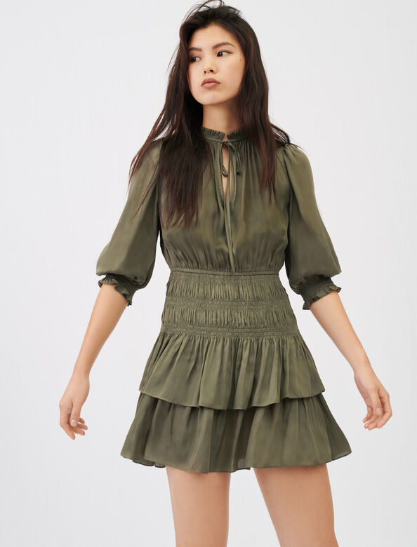 Satin dress with smocking and ruffles : Dresses color Khaki