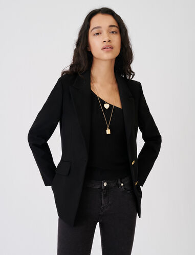 Fitted suit jacket : Blazers color Black