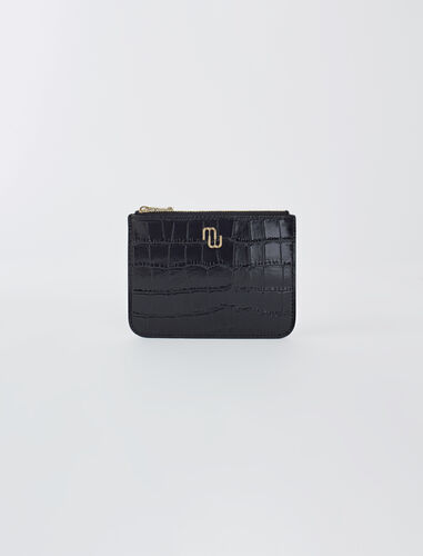 Zip-up embossed leather pouch : Small leather goods color Black
