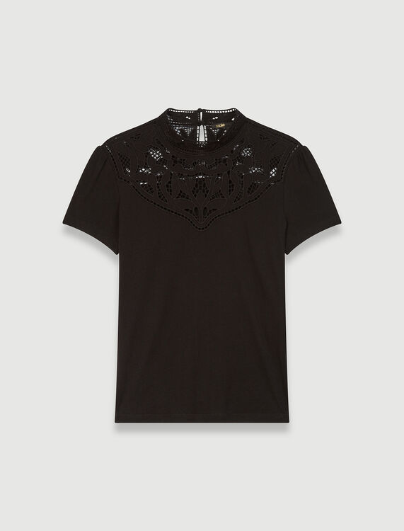 T-shirt with lace collar details - T-Shirts - MAJE