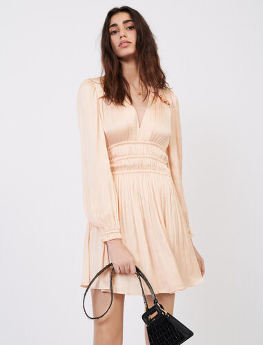 V领泡泡袖连衣裙 : 连衣裙 顏色 深蓝色/NAVY