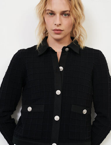 Denim and knit mix cardigan : null color Black