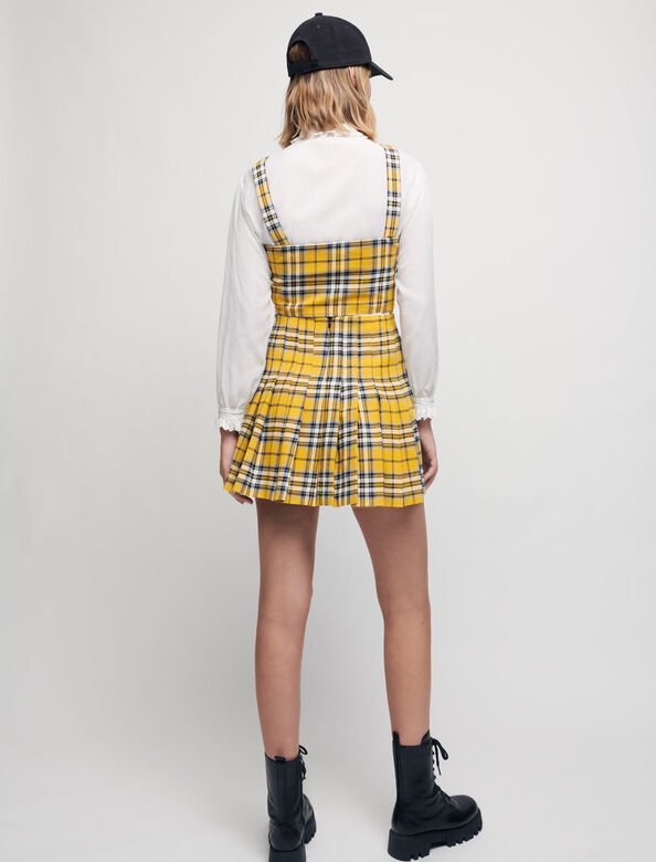 Kilt-style checked pleated skirt : Skirts color Yellow