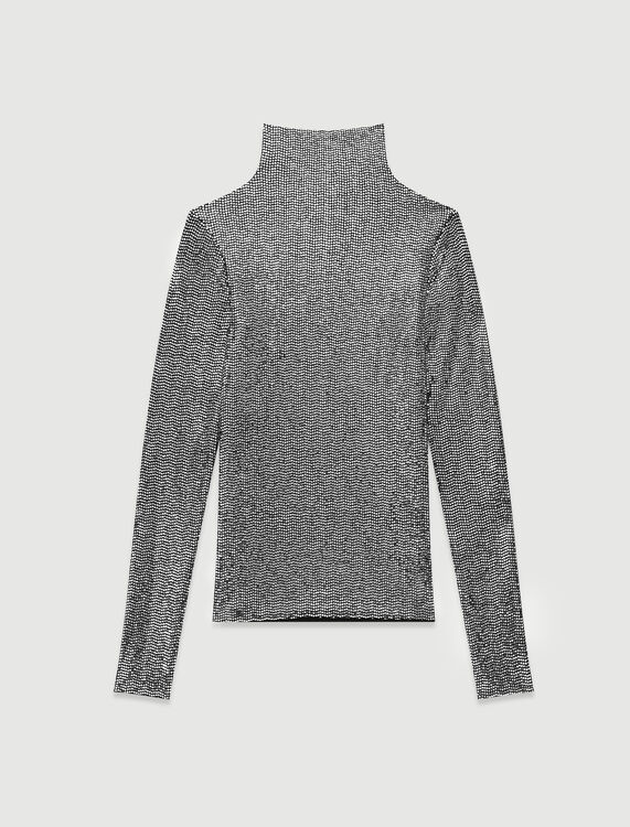 Turtleneck t-shirt in stretch material : T-Shirts color Silver
