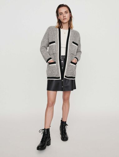 Cardigan with contrast stripes : Cardigans color Black