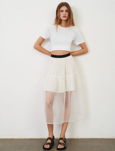 Elasticated tulle and sequin skirt : Skirts color White