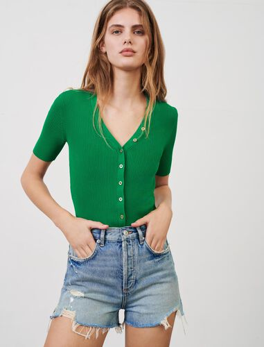 Fine V-neck jumper with small buttons : Cardigans color Green