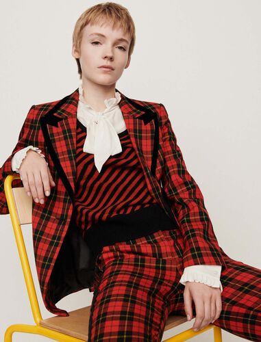 Velvet piped plaid jacket : Blazers color Red