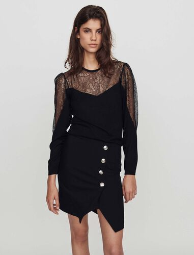 Light knit and lace sweater : Tops color Black