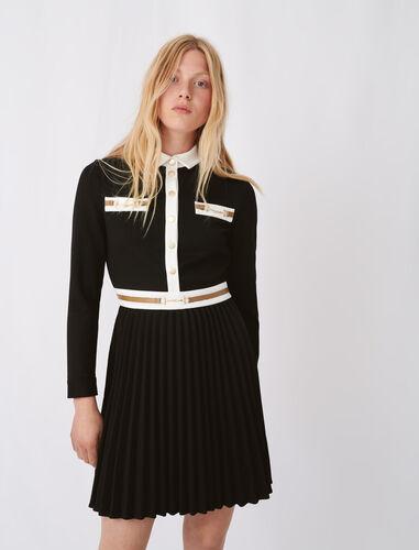 撞色带百褶连衣裙 : 连衣裙 顏色 黑色/BLACK