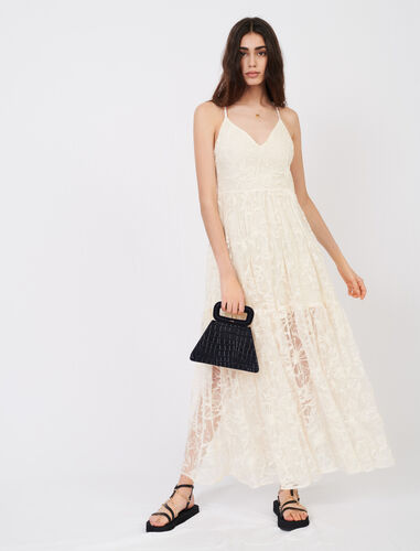 Strappy lace dress : Dresses color Ecru