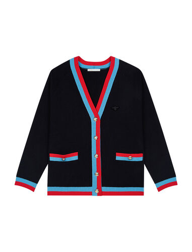 Cardigan with contrasting bands : CNY Capsule Collection color Black