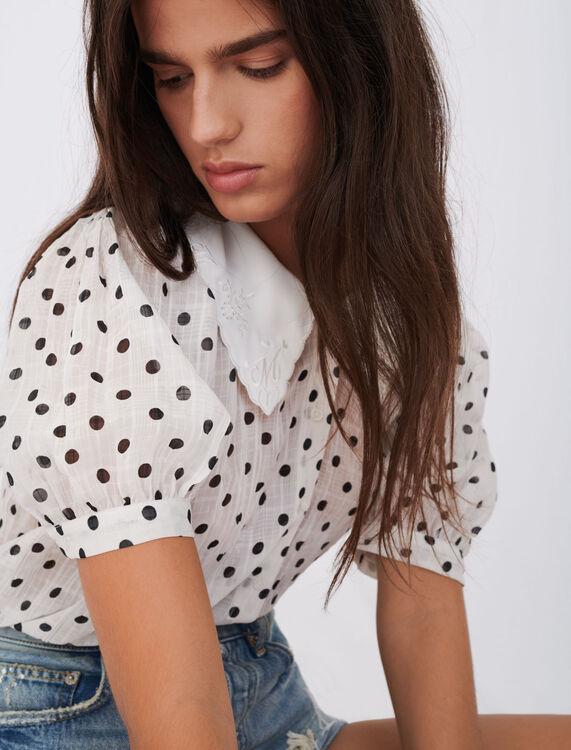 Crinkle-effect polka dot shirt - T-Shirts - MAJE