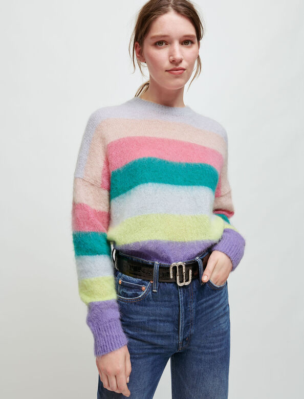 Brushed mohair striped pullover : Sweaters & Cardigans color Multi-Coloured