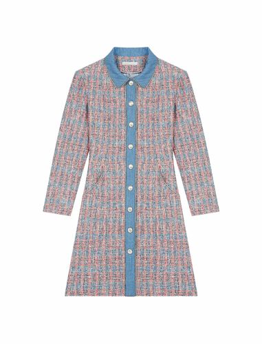 Tweed dress with denim contrasts : CNY Capsule Collection color Red