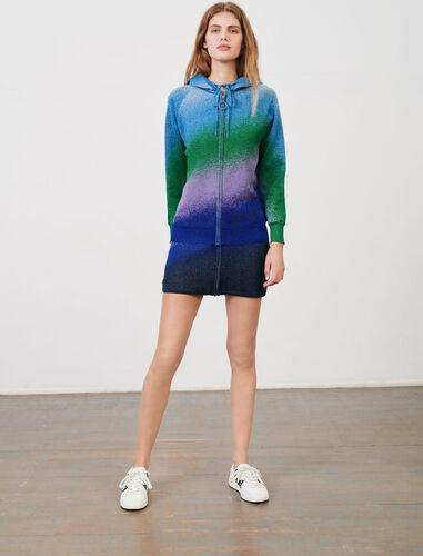 Lurex knit hooded cardigan : Cardigans color Blue/Green/Purple