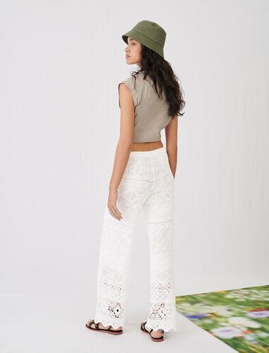 白色镂空针织长裤 : 裤装及连衣裤 顏色 淡褐色/ECRU