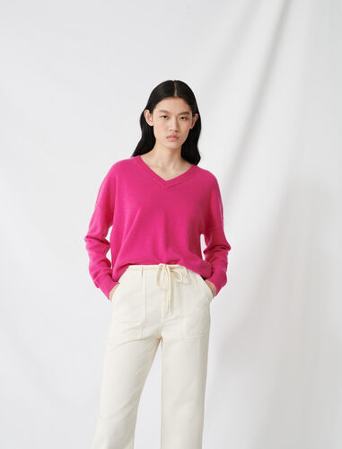 V-neck cashmere jumper : Sweaters color Fuchsia