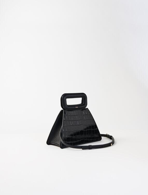 Pyramid bag with embossed leather handle : Shoulder bags color Black