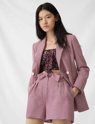 Checked straight double-breasted jacket : Coats & Jackets color Fuchsia