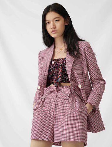 Checked straight double-breasted jacket : Coats & Jackets color Fuchsia