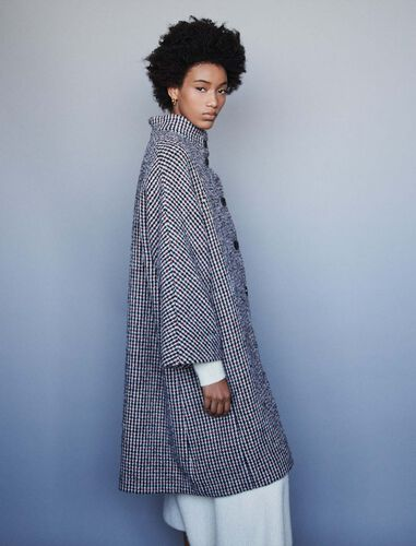 Long wool houndstooth coat : Overcoat color Navy/Red