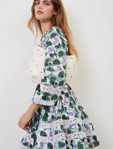 Printed viscose linen dress : Dresses color White/Green/Purple