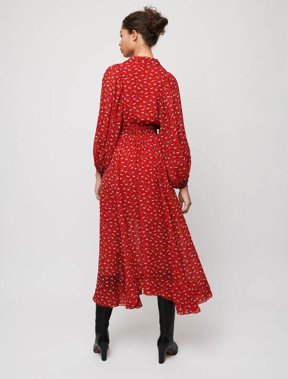 Horse-print muslin dress : Dresses color Red Horses