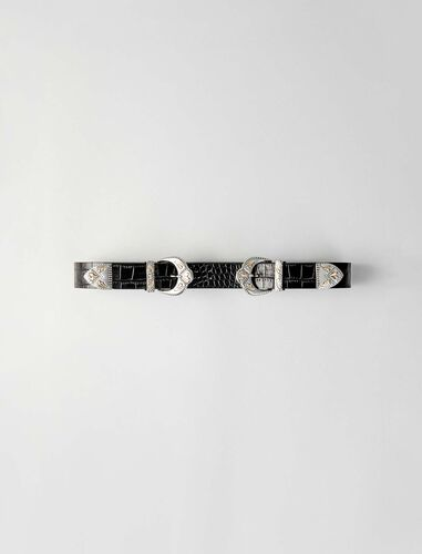 Double scalloped buckle leather belt : Belts color Black